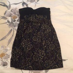 DVF Gold & Black Strapless Dress!